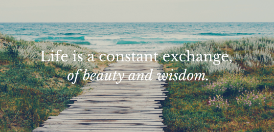 Life is a constant exchange, of beauty and wisdom